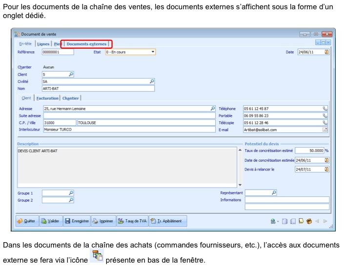 Batigest V10 documents externes